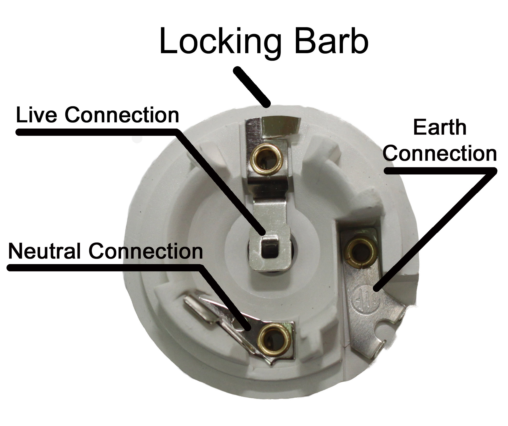 wiring of a es or e27 screw lampholder